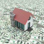 Little red modern 3D houses on the pile of money in isolated background. It is a real estate business.