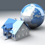 Real estate arround the World. 3D rendered Illustration.